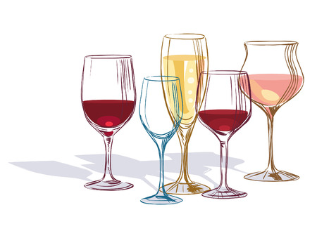 Wine glass. Hand drawn vector illustration