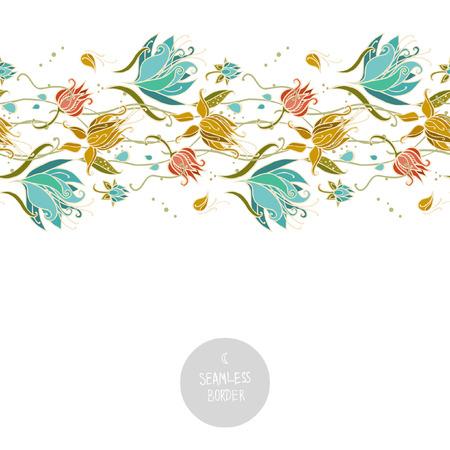 白い背景の上のシームレスな花柄ボーダー。ベクトル図