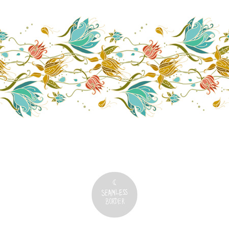 Seamless floral border on white background. Vector illustration