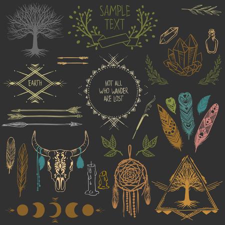 Set of symmetrical graphic design elements. Illustration