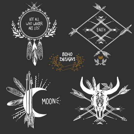 boho: Bohemian designs. Vector set. Illustration
