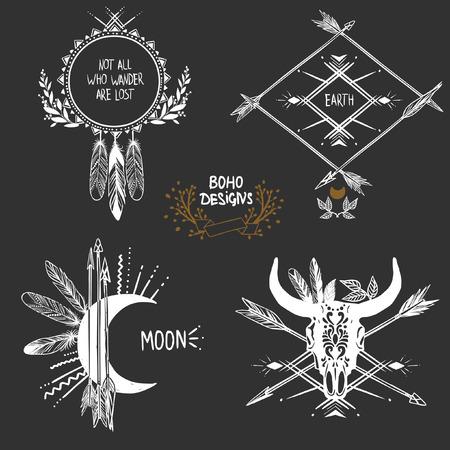Bohemian designs. Vector set. Vettoriali