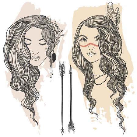 indio americano: Dos hermosas chicas hippies. Ilustración drenada mano del vector