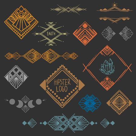 Set van symmetrische grafische ontwerp elementen. Stock Illustratie