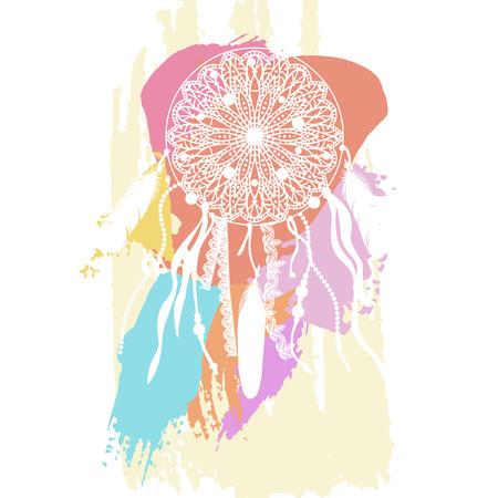 白い背景のドリーム キャッチャー。ベクトル図  イラスト・ベクター素材