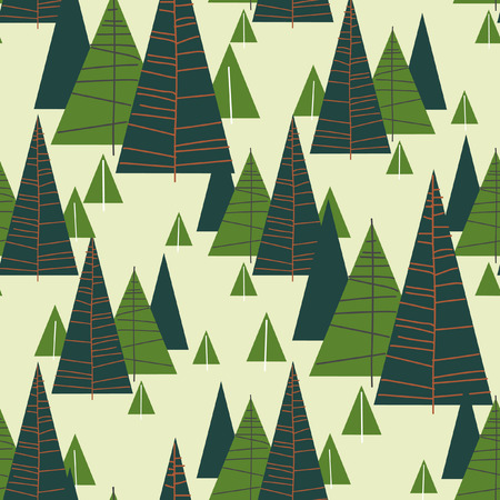 for�t r�sineux: Coniferous forest. Vector seamless pattern.