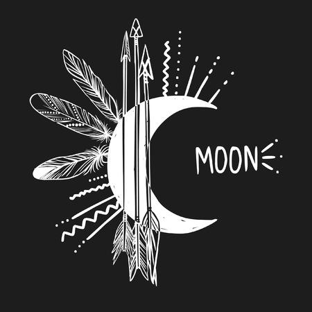 pluma: Luna, flechas y plumas sobre fondo negro. Ilustraci�n vectorial