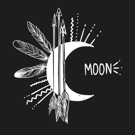 Moon, arrows and feathers on black background. Vector illustration