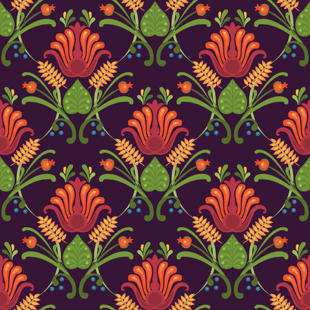 ordered: Floral vector seamless pattern. Bright red flowers on dark background Illustration