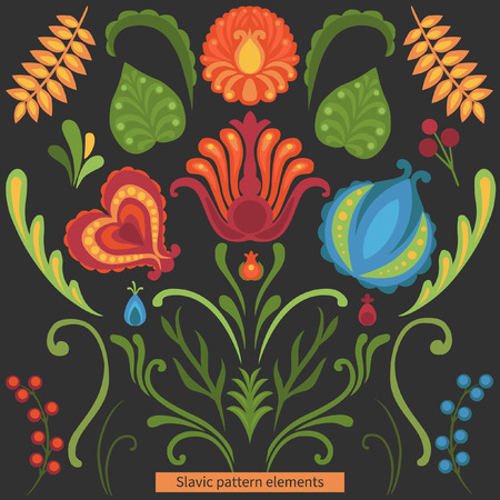 slavic: Colorful flowers in traditional slavic style on black background. Vector editable set.