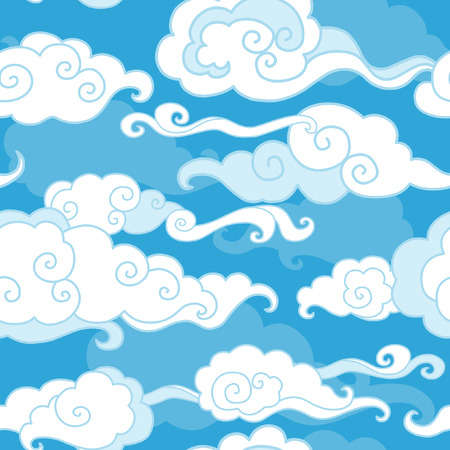 Traditional oriental ornament. Clouds on blue sky. Vector seamless pattern
