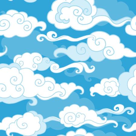 Traditionele oosterse ornament. Wolken op blauwe hemel. Vector naadloos patroon Stock Illustratie