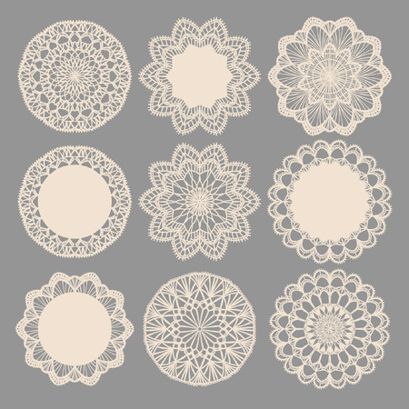 lace fabric: Round lace napkins. Vector collection