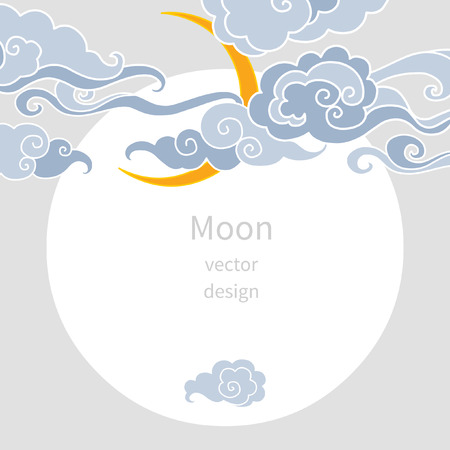 editable eastern asia: Moon and clouds. Vector illustration