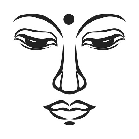 Buddhas face. Vector illustration. Illustration