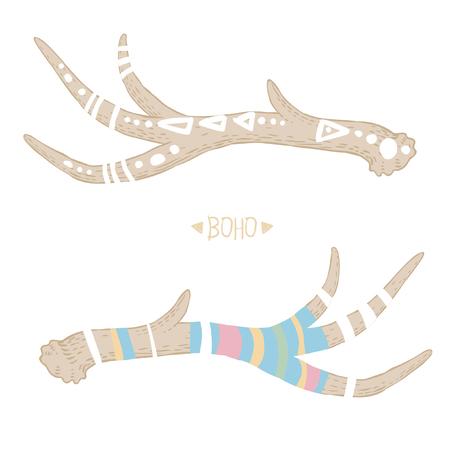 horns: Painted deer horns. Vector illustration