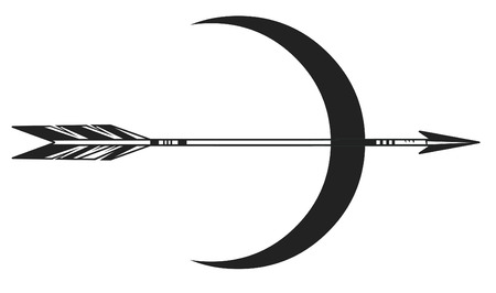 Moon and arrow on white background. Vector illustration