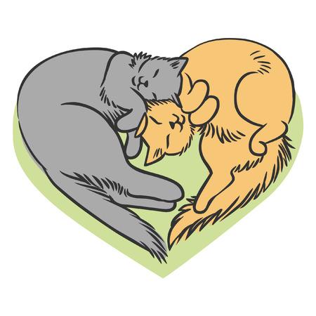 3 匹の猫のハートの形で横になっています。ベクトル手描き下ろしイラスト