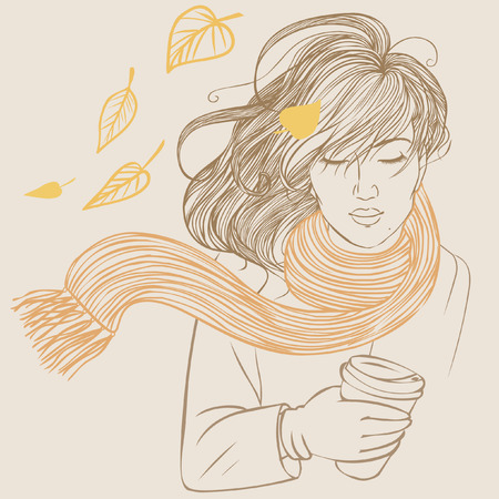 autumn woman: Pretty girl with streaming hair. Vector hand drawn illustration
