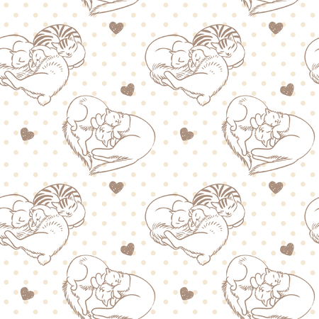 Cats lying in the shape of heart. Vector hand drawn seamless pattern