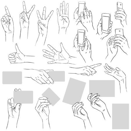 bewegingen van de hand. Grote collectie. drawn Vector hand illustratie Stock Illustratie