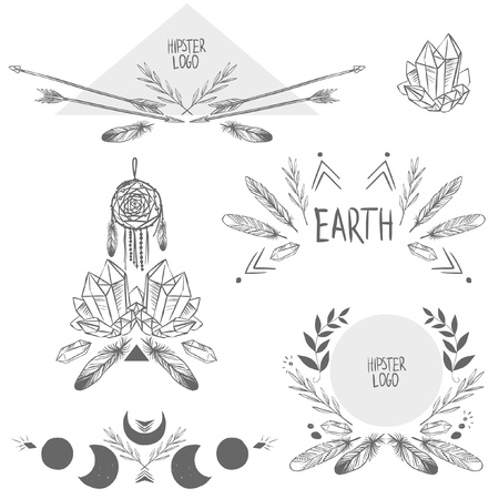 Set of symmetrical graphic design elements in bohemian style