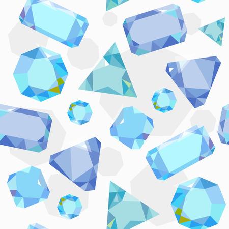 bijou: Vector seamless pattern. Blue crystals on white background.
