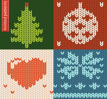 Set of seamless knitted patterns. Winter seasonal symbols Vettoriali