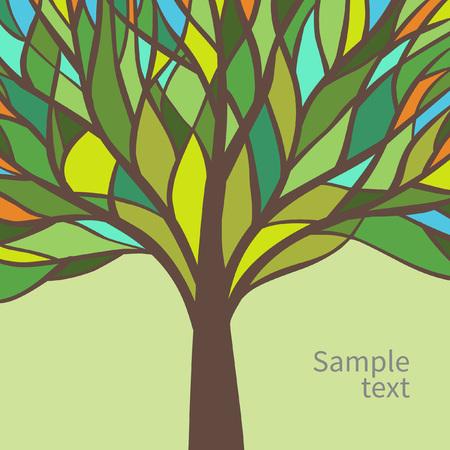 美しいカラフルなツリーとベクトル カード デザイン  イラスト・ベクター素材