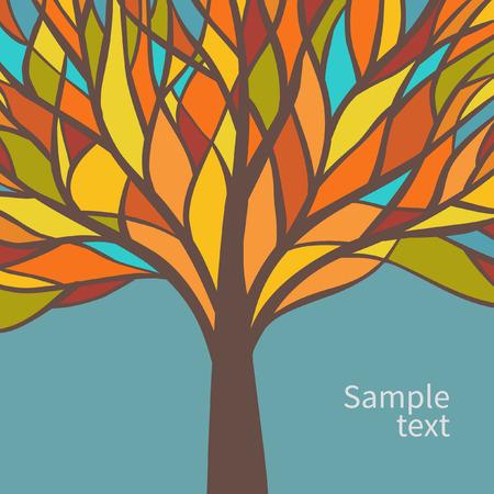 Diseño de la tarjeta del vector con el árbol hermoso colorido