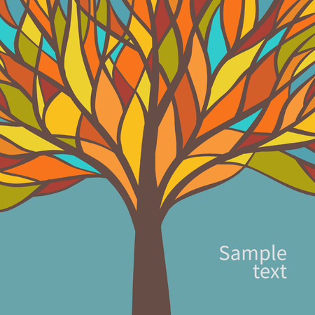 green glasses: Vector card design with beautiful colorful tree