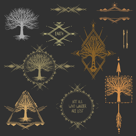 boho: Set of symmetrical graphic design elements. Illustration