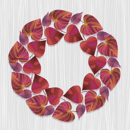 red leaves: Round wreath. Red leaves. Vector illustration