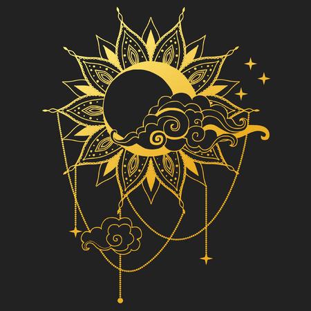 月と黒い背景に太陽。ベクトル図