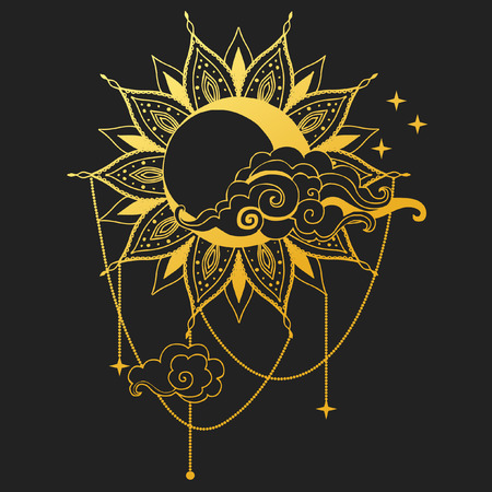 Moon and Sun on black background. Vector illustration Иллюстрация