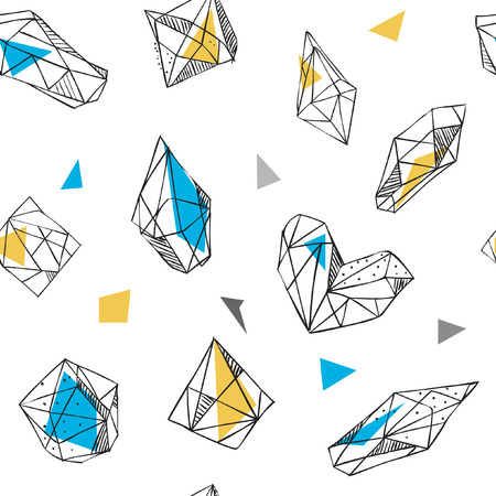 Vector seamless pattern. Hand drawn crystals on white background