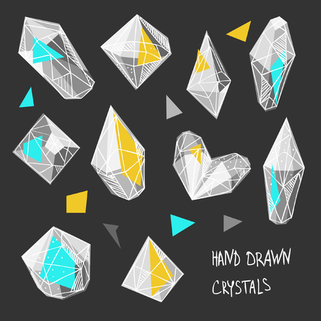 Set of hand drawn crystals. Vector illustration Ilustrace