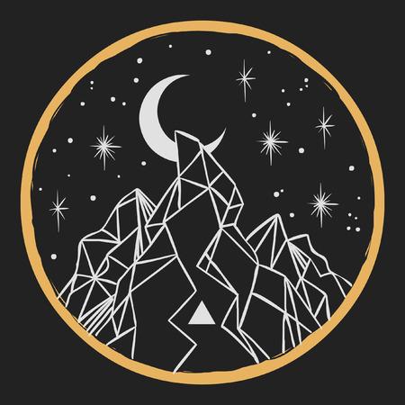 Berg onder sterrenhemel. Vector sjabloon in boho stijl