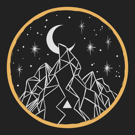 Mountain under starry sky. Vector template in boho style