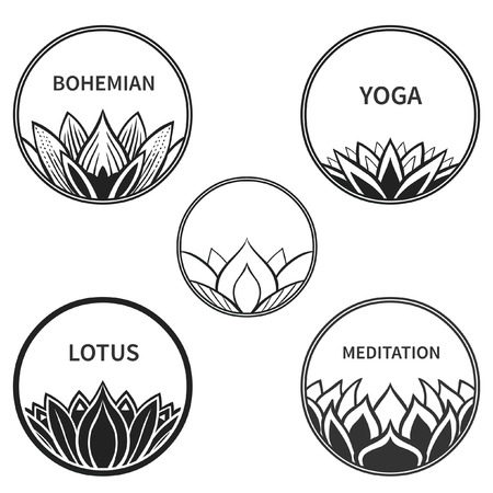 Set of five round badges with lotus. Vector hand drawn illustration Illustration