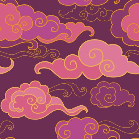 Traditional oriental ornament in purple tones. Clouds on the sky. Vector seamless pattern