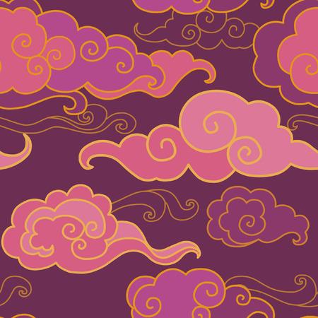 Traditionele oosterse ornament in paarse tinten. Wolken aan de hemel. Vector naadloos patroon