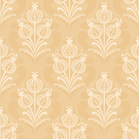 lowers: Floral vector seamless pattern in East European style. Symmetrical lowers on light beige background