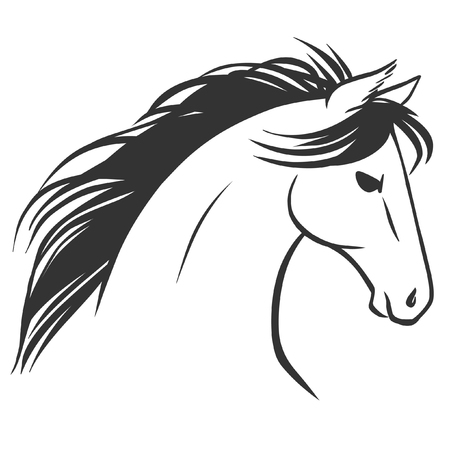 Horses head. Tattoo sketch. Logo design. Vector illustration