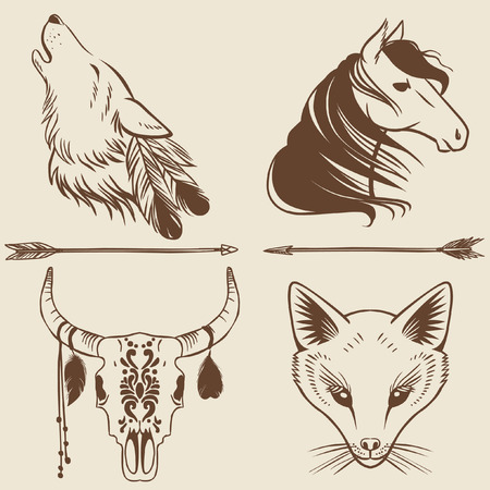 wolves: Vector hand drawn animal heads. Tattoo sketches, logo design elements.