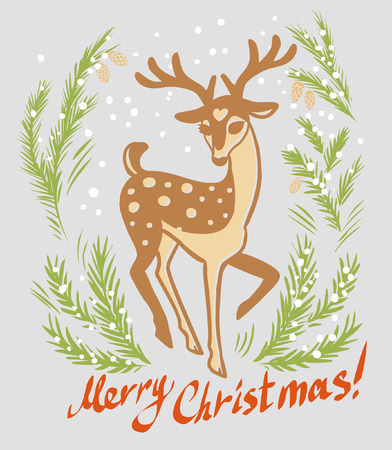 dappled: Christmas card design with pretty graceful deer. Hand drawn illustration in retro style.