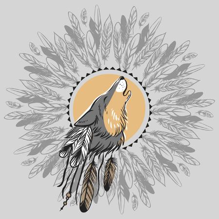 Howling hoofd wolf. Hand getrokken vector illustratie. Kan worden gebruikt als tattoo schets of t-shirt printen Stock Illustratie