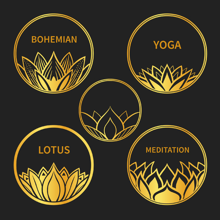 new age: Set of five round badges with lotus. Vector hand drawn illustration Illustration