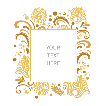 folkloric: Floral frame with place for your text. Golden flowers on white background. Vector template in traditional slavic folkloric style
