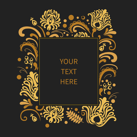slavic: Floral frame with place for your text. Golden flowers on black background. Vector template in traditional slavic folkloric style Illustration